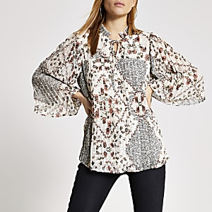 Cream floral pleated long sleeve smock top