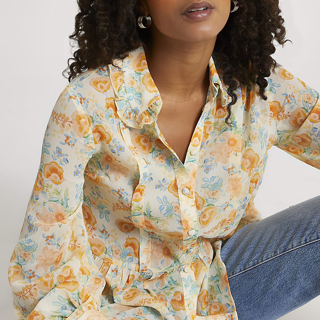 Cream floral print chiffon shirt