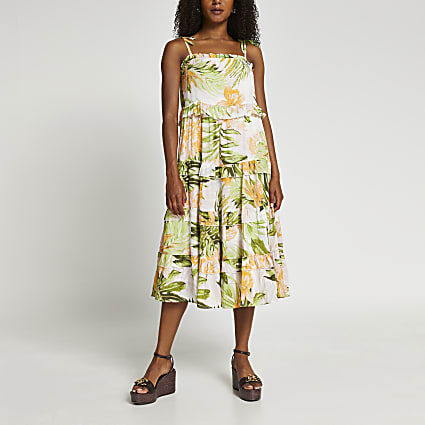 Cream floral print ruffle midaxi beach dress