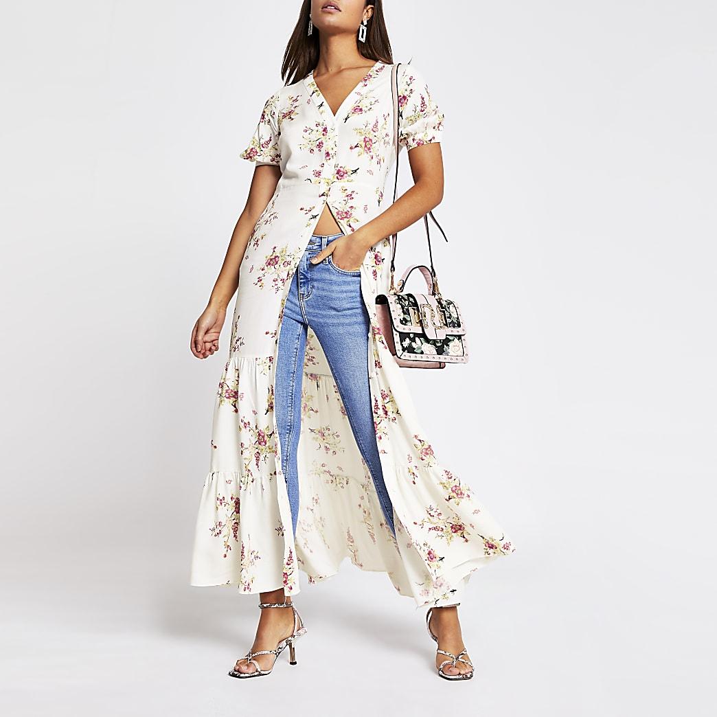 Cream floral short sleeve midi dress