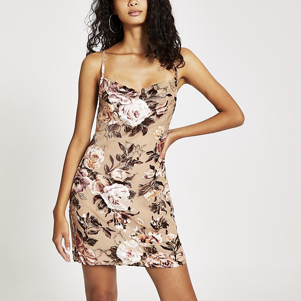 Mini-robe en velours crèmefleuri à bretelles et col bénitier