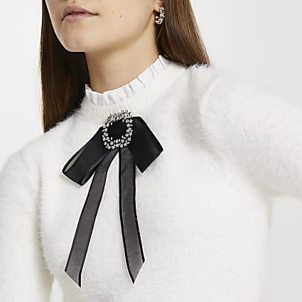 Cream fluffy bow embellished jumper