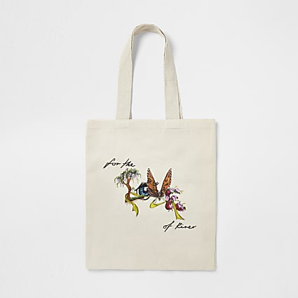 Cream 'for the nature of river' canvas bag