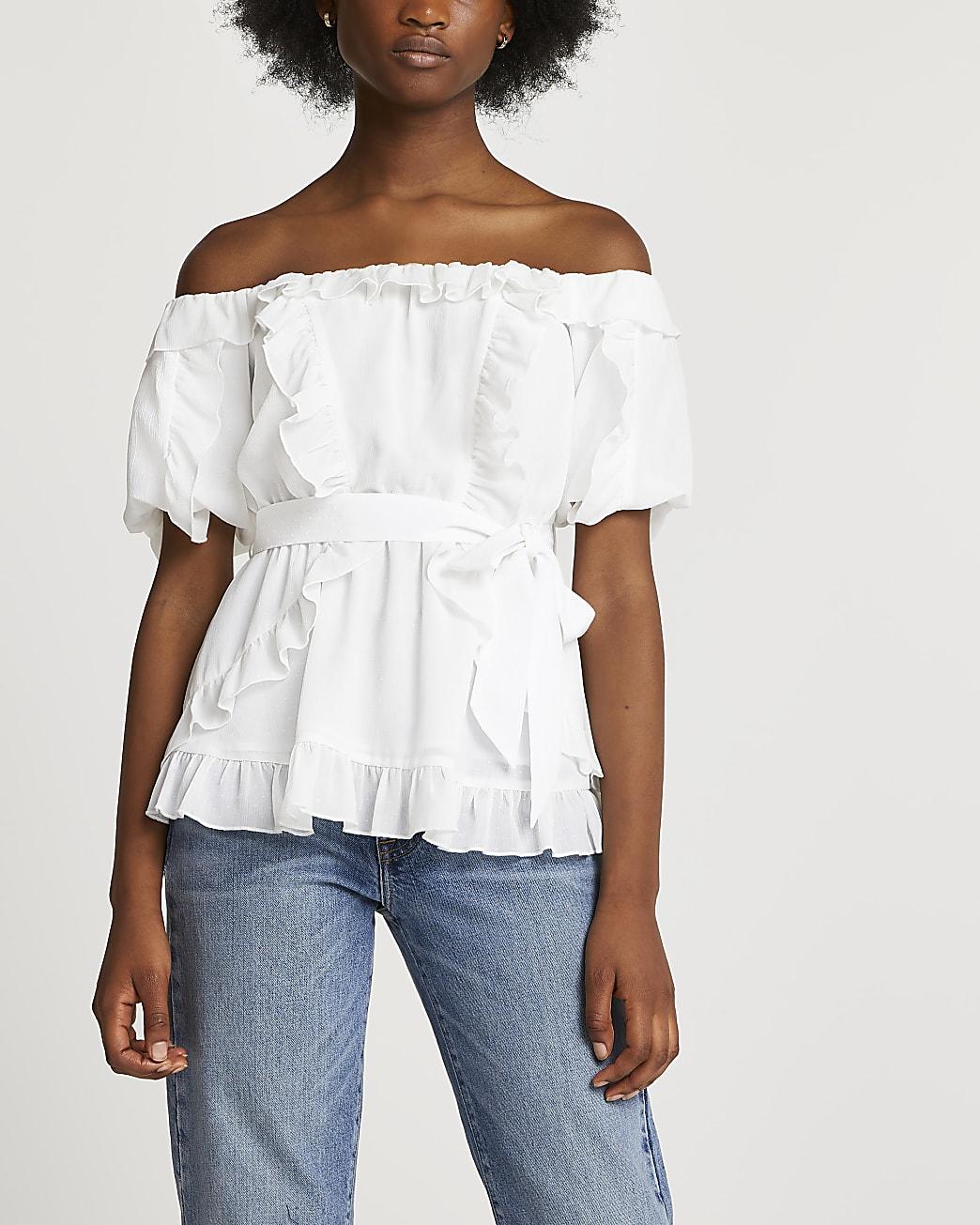 Cream frill bardot belted top