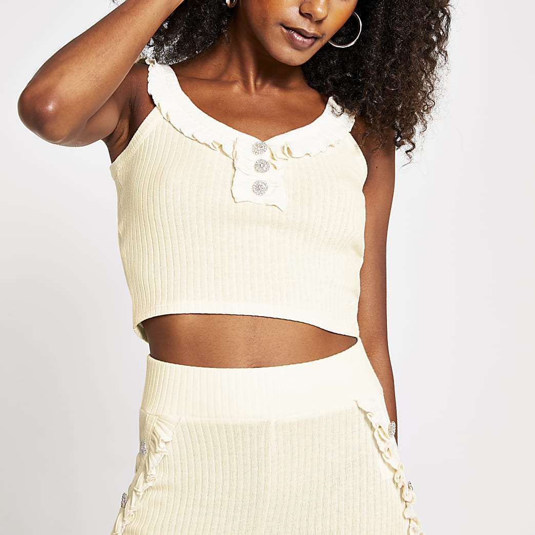 Cream frill button crop Top