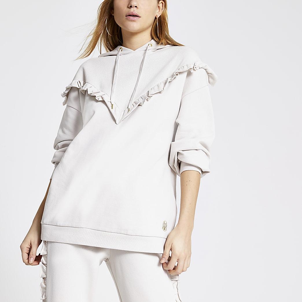 Crèmekleurige geribbelde hoodie met ruches in zigzagvorm