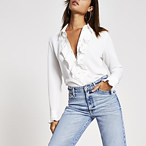 Cream frill front long sleeve shirt