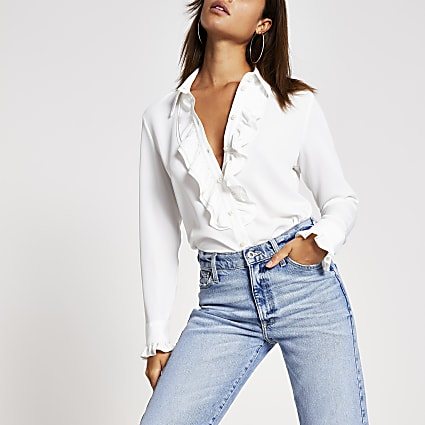 Cream frill front long sleeve shirt