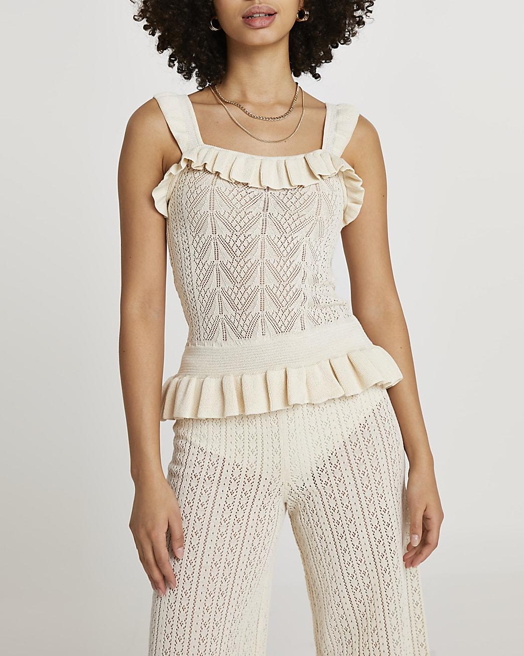 Cream frill hem knitted vest top