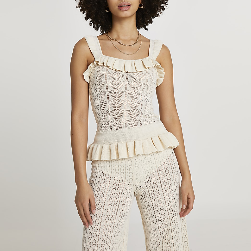Cream frill hem knitted vest top
