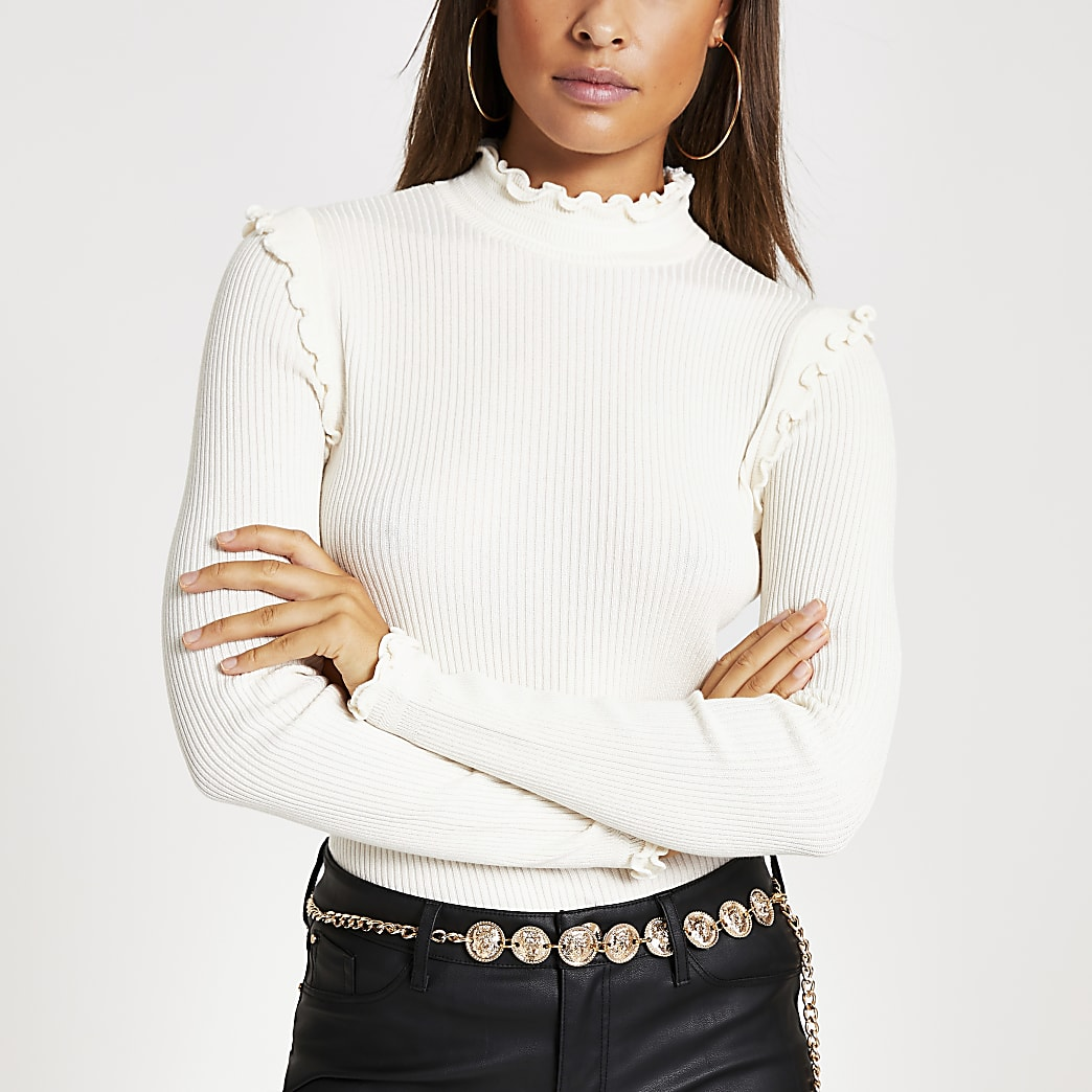 Cream frill high neck fitted knit top