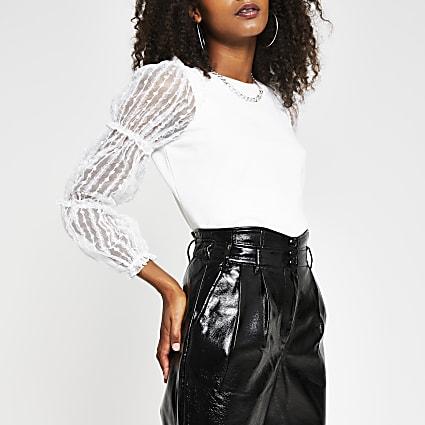 Cream frill mesh puff sleeve sweatshirt