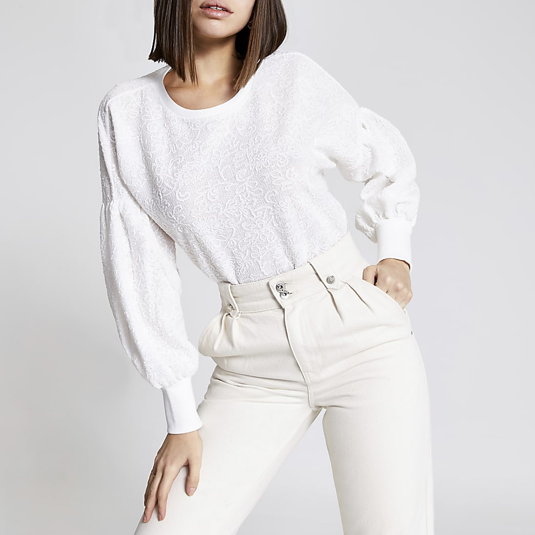 Cream frill neck sleeve jumper