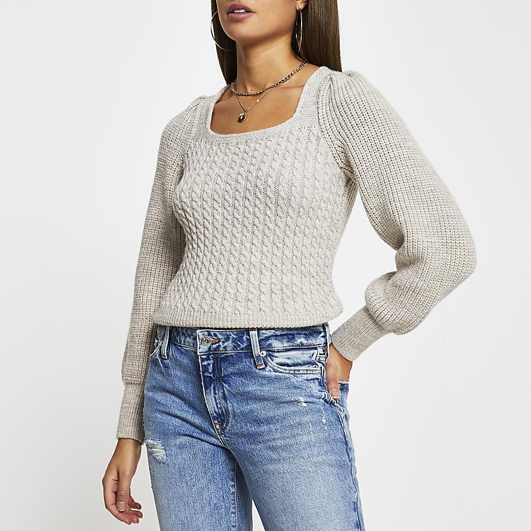 Cream frill shoulder tie back knit jumper