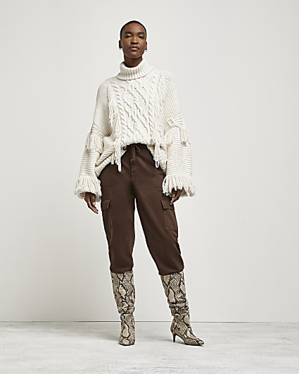 Cream fringe detail cable knit jumper