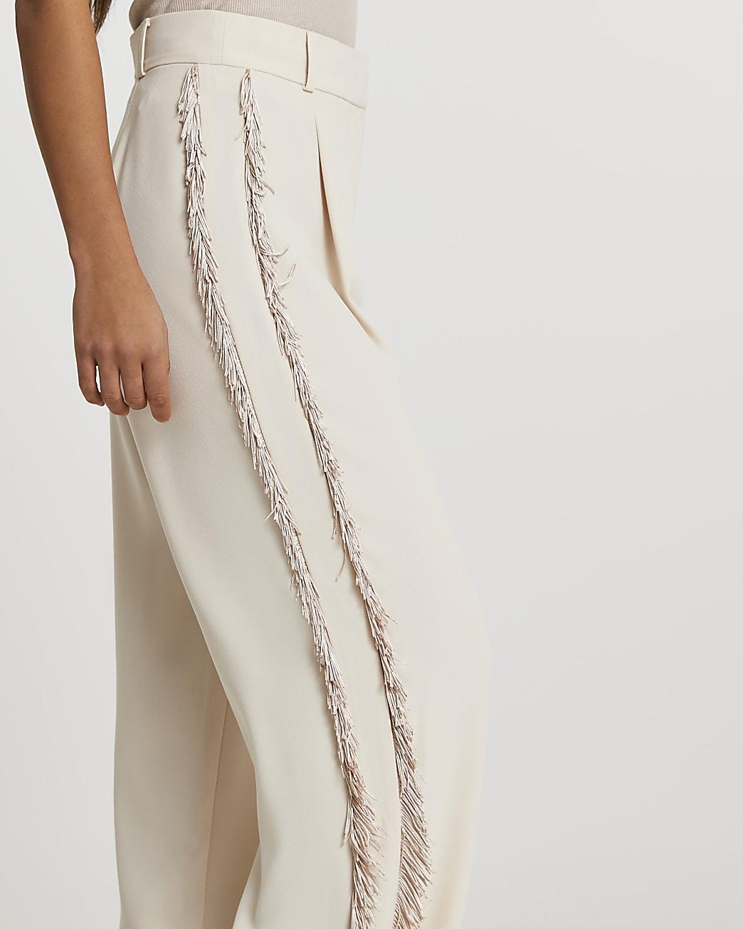 Cream fringe side trousers