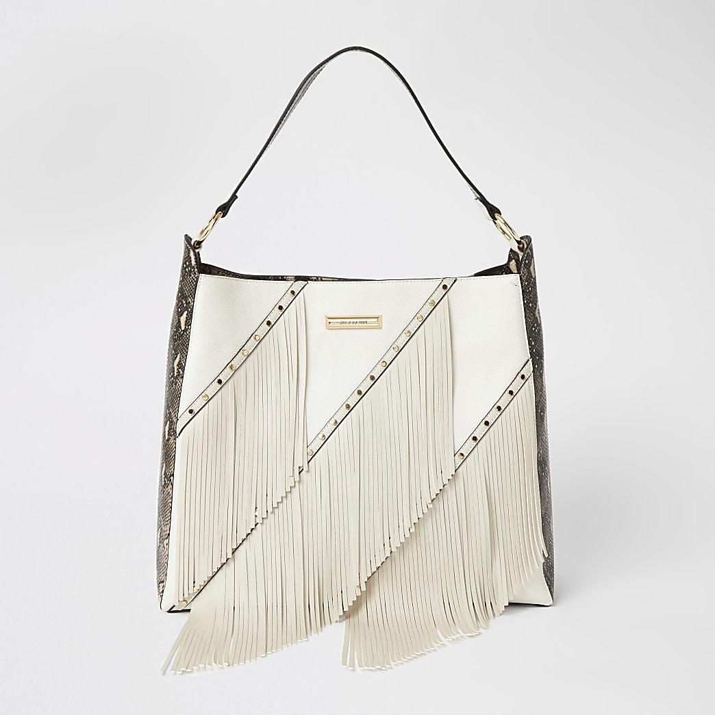Cream fringe tassel slouch handbag