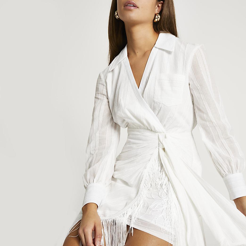 Cream fringe wrap shirt dress