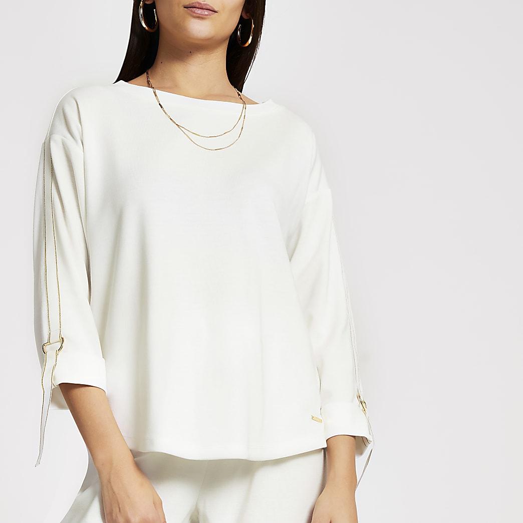 Cream glitter tape long sleeve sweatshirt