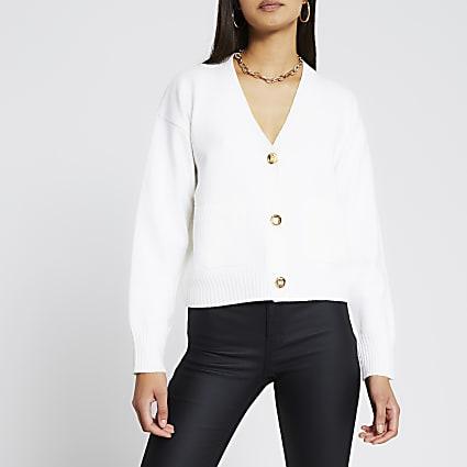 Cream gold button cardigan