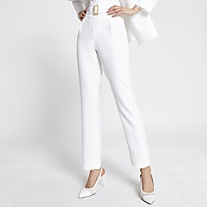 Crèmekleurige high waist tapered broek met ceintuur