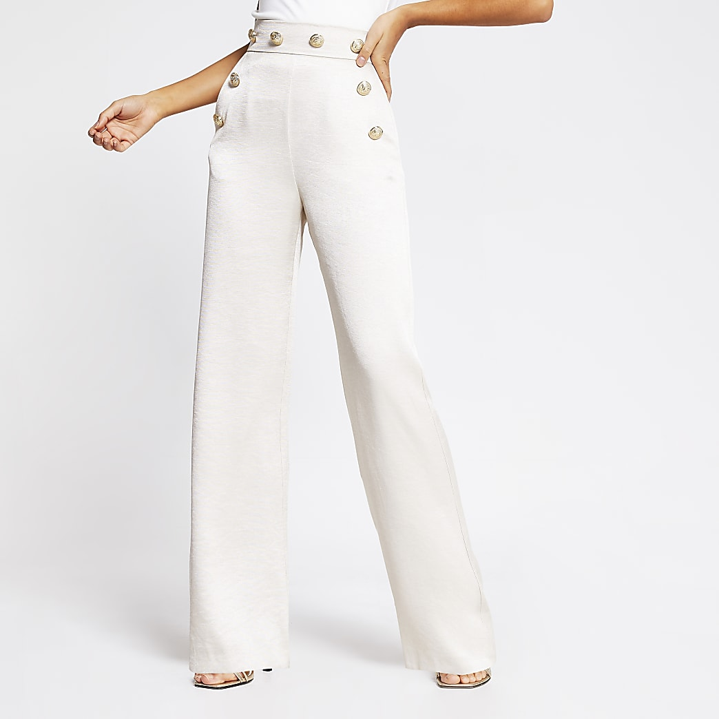Cream high button waist wide leg trousers