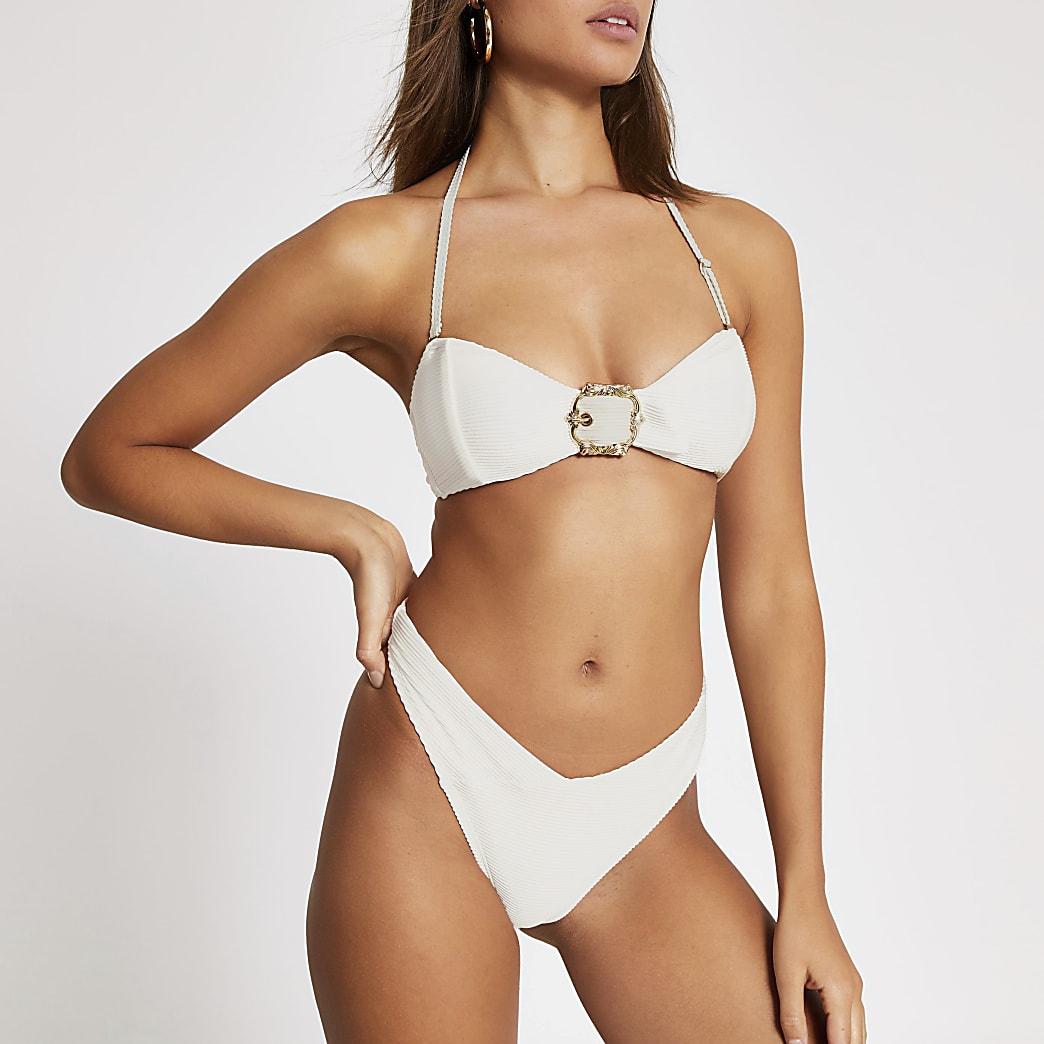 Cream high leg ribbed bikini bottoms