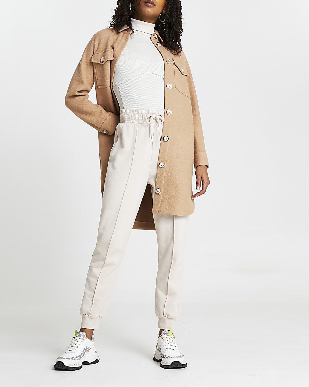 Cream high neck ribbed corset bodysuit