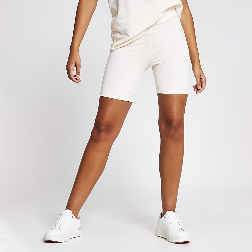 Cream high waist cycling shorts