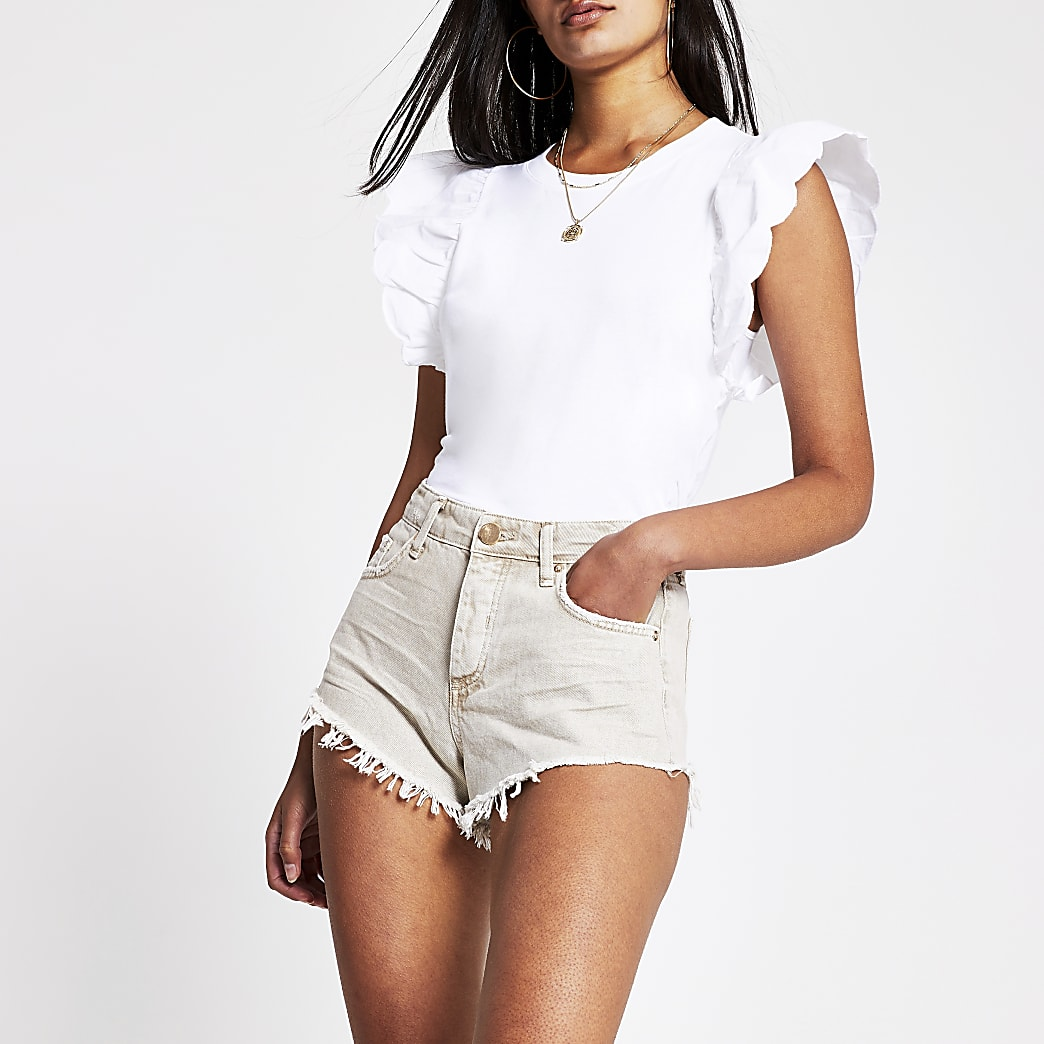 Cream high waisted denim hot pant short