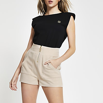 Cream high waisted zip detail short