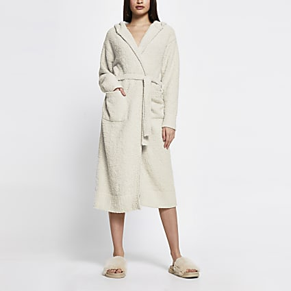 Cream hooded fluffy knit robe