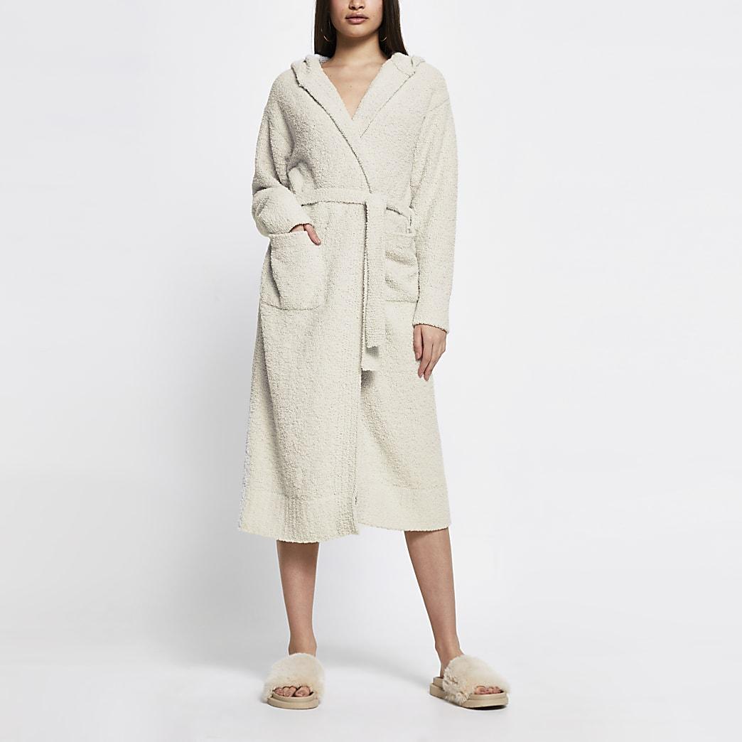 Cream hooded fluffy knit robe