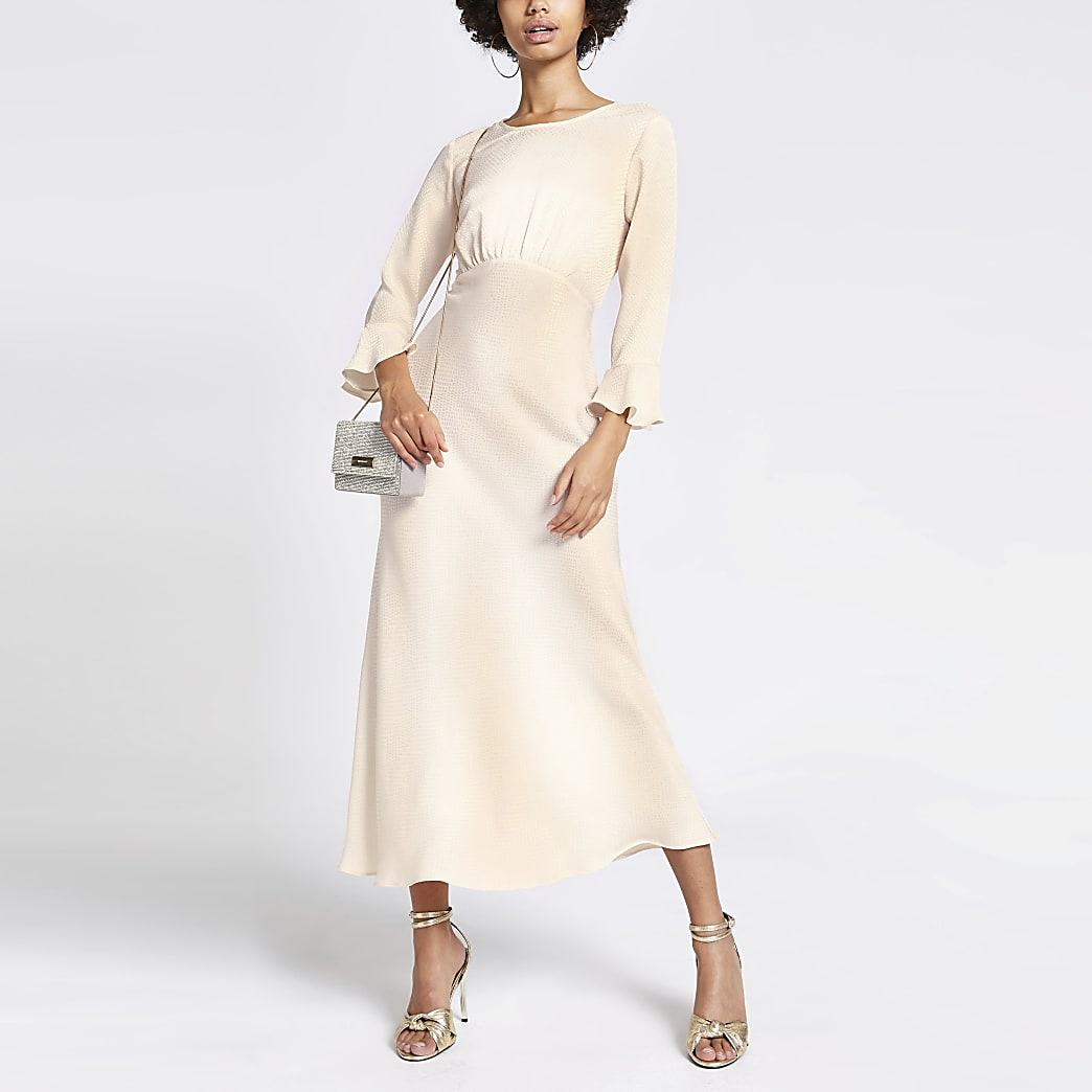 Cream jacquard waisted midi dress