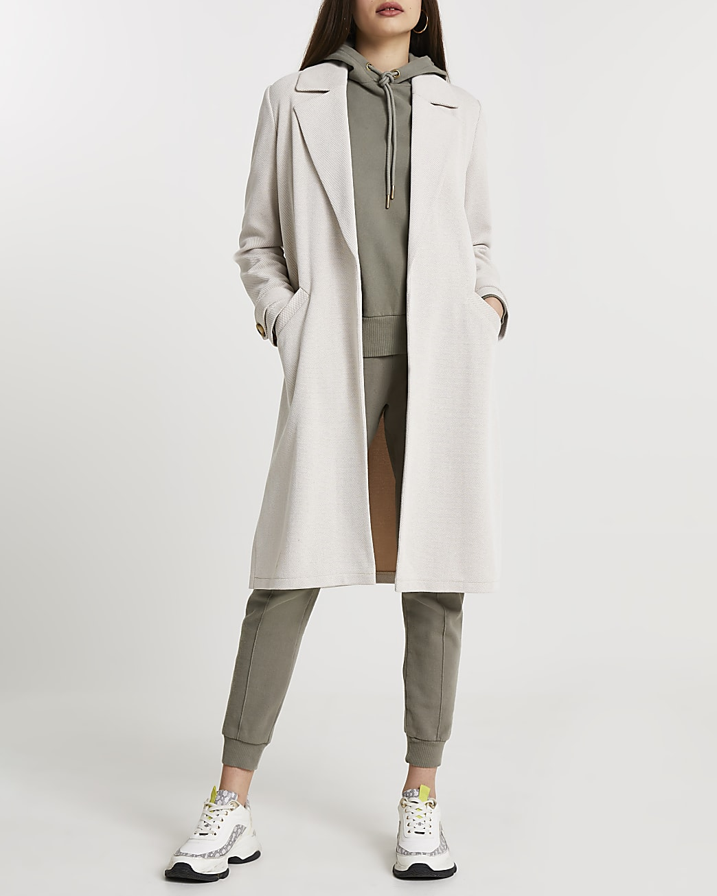 Cream jersey duster jacket