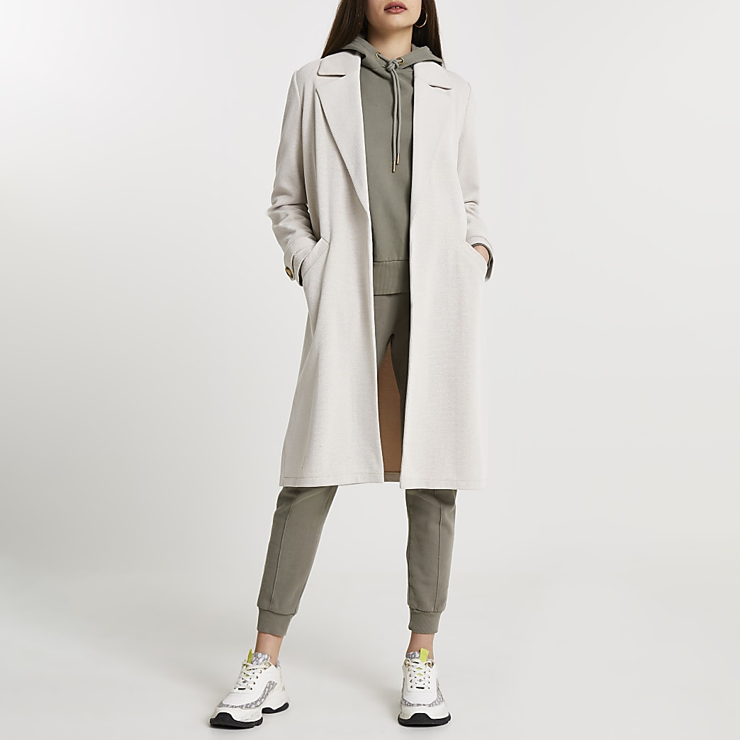 Cream jersey duster jacket