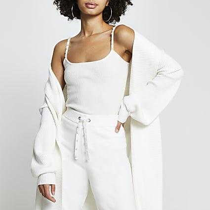 Cream knit pearl trim vest