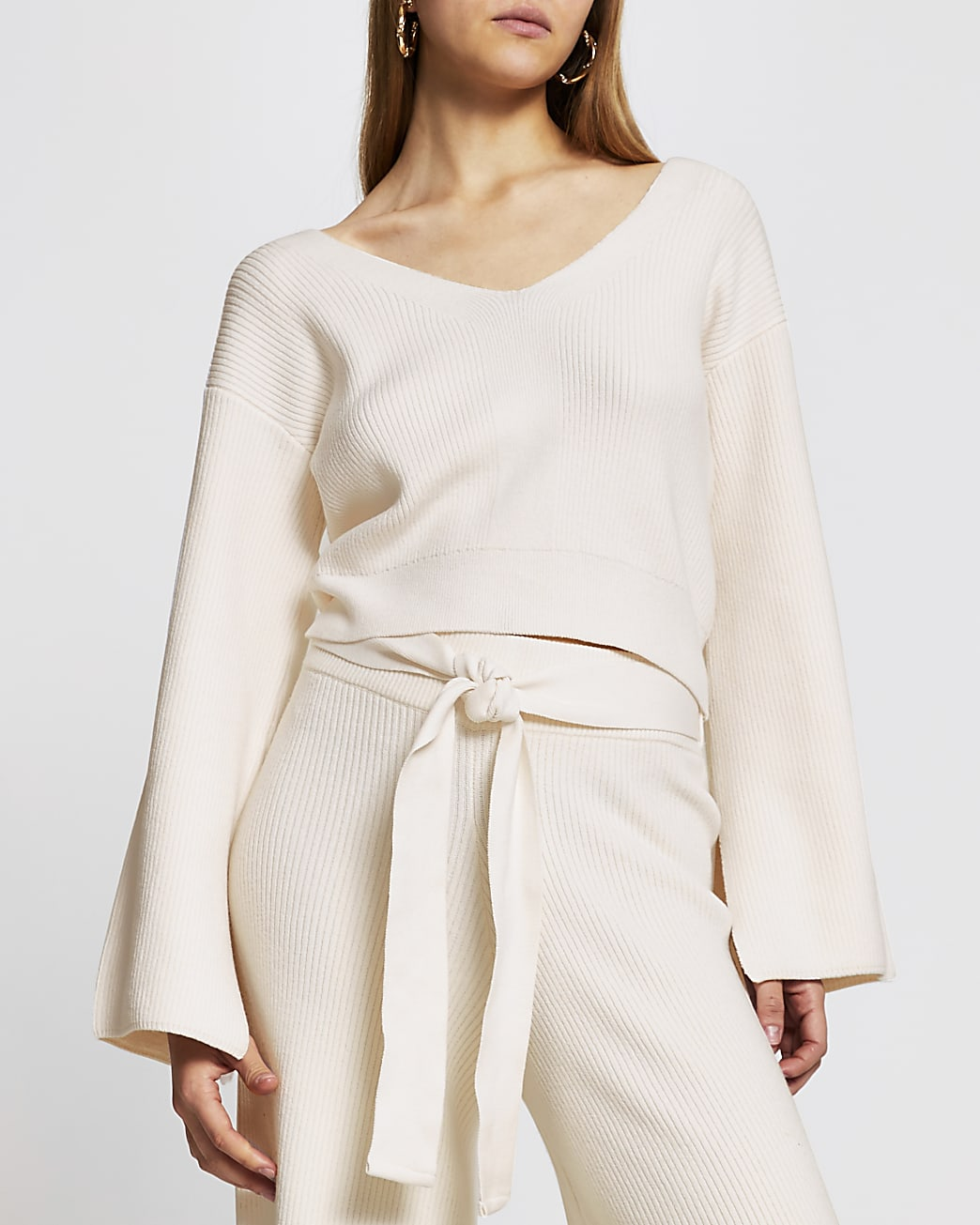 Cream knitted bow back loungewear top