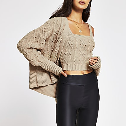 Cream knitted cardi and bralet set
