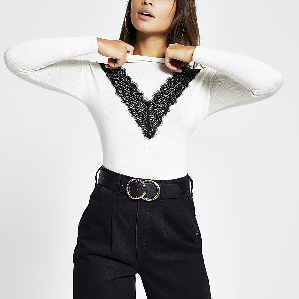 Cream lace chevron front knitted jumper