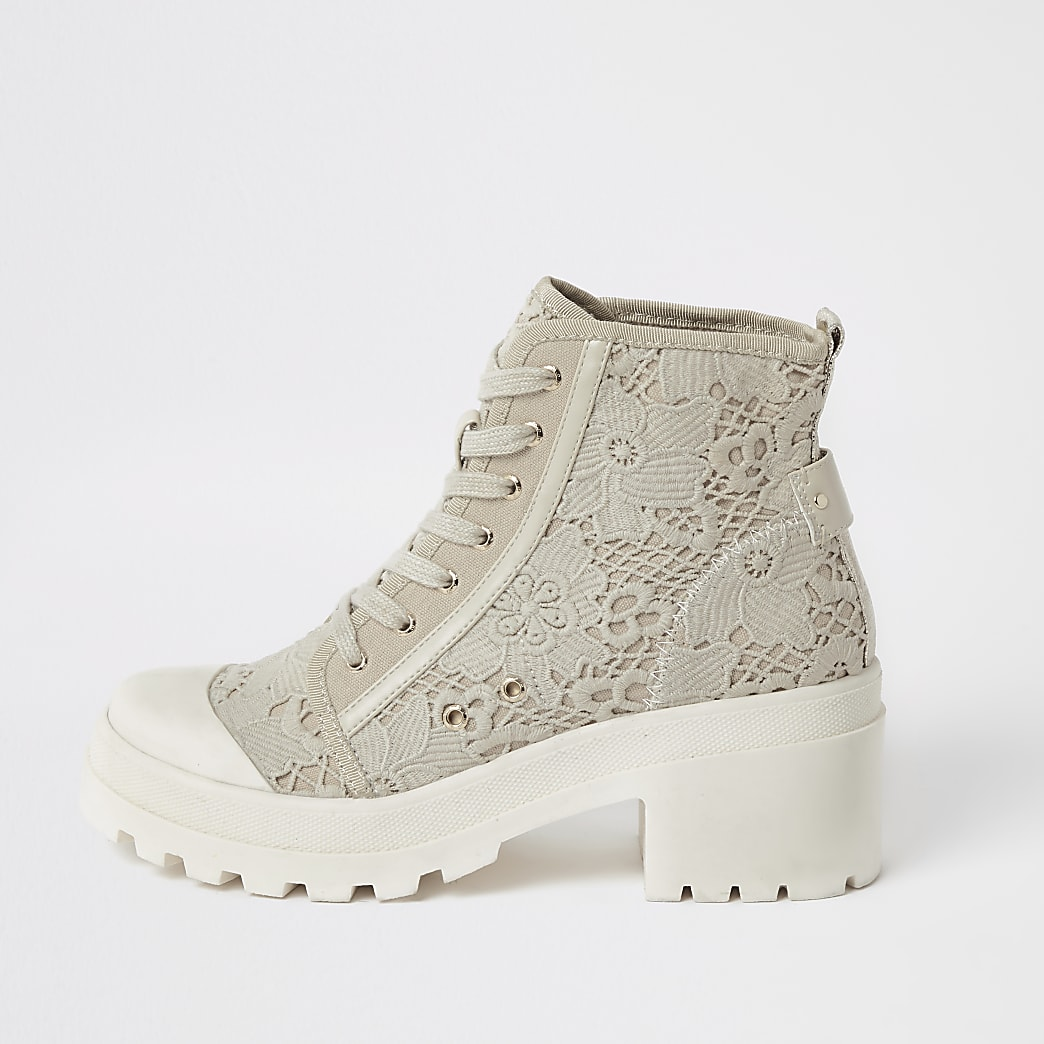 Cream lace chunky ankle boots