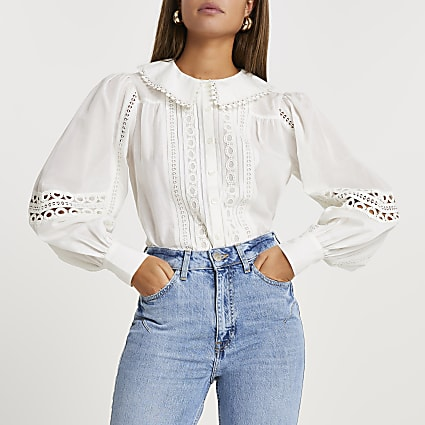 Cream lace cut out detail blouse