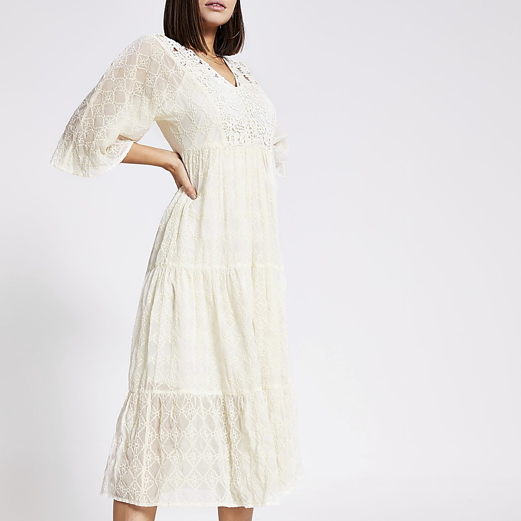 Cream lace embroidery smock dress