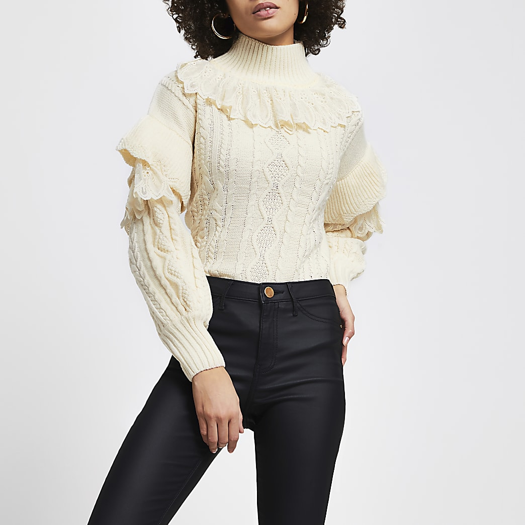 Cream lace frill high neck cable knit jumper