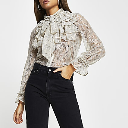 Cream lace frill neck long sleeve blouse top