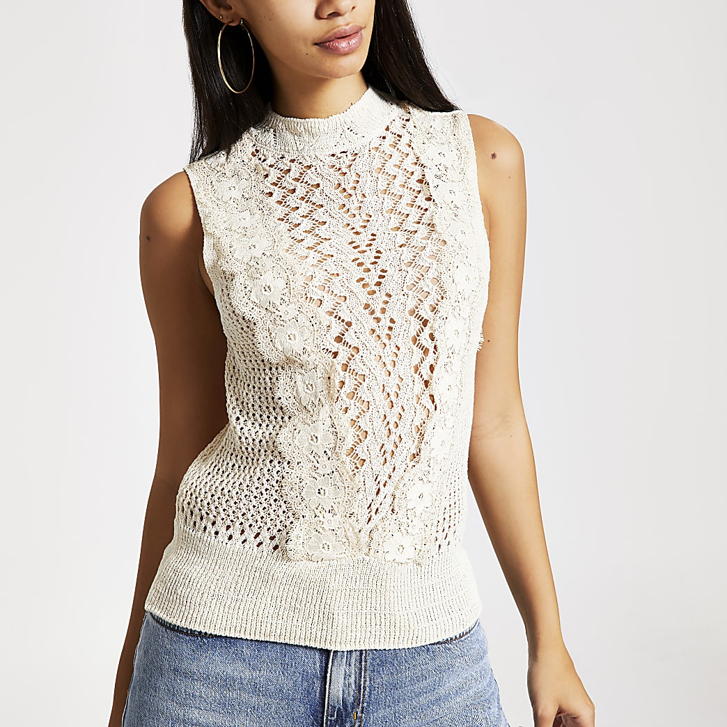 Cream lace knitted tank top
