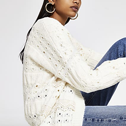 Cream lace scallop frill knitted cardigan