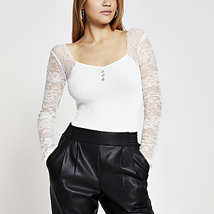 Cream lace sleeve bodice top