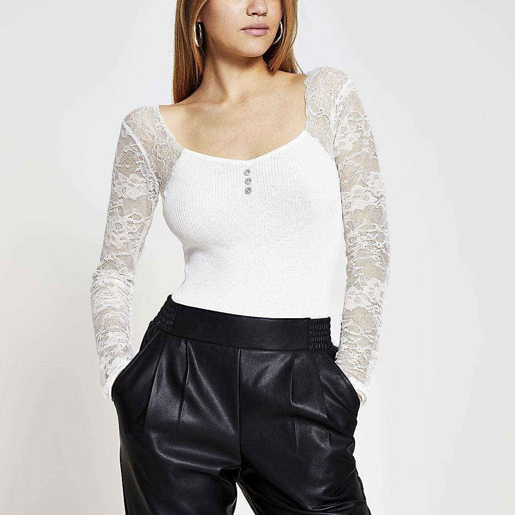 Cream lace sleeve bodice top