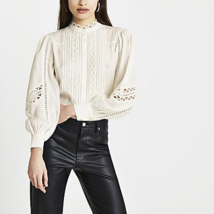 Cream lace trim long sleeve blouse top